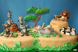 MuyAmeno.com: Tortas de Madagascar para Fiestas Infantiles