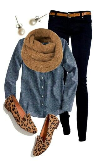 Like leopard shoes with black jeans and chambray shirt. Not sure scarf color would flatter me.