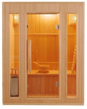 Sauna finlandese 3 posti in abete canadese modello Ten 153 x 100 cm