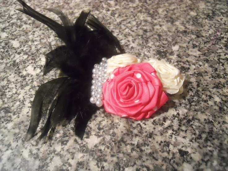 Headband with Pink Polka Dot and Ivory rolled roses, pearls and black feathers.    Price: $12  Shipping: Send Message       http://www.facebook.com/CandysCoutureCanada     Handmade by Candy's Creations.
