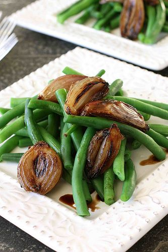 One of our favorite Thanksgiving sides.  Green Beans with Balsamic Roasted Shallots | cookincanuck.com #Thanksgiving