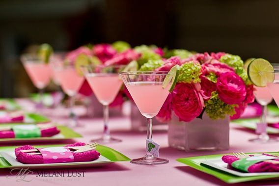 birthday party theme = pink n green!