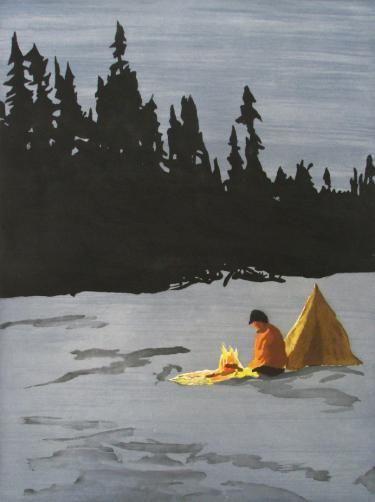 """The Campfire"" © #RichardBosman 2006 #aquatint #intaglio #etching #printmaking"