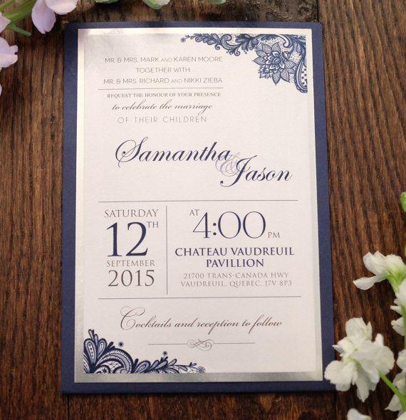 Navy wedding invitation Navy Invitation Lace by KiwiInvitations