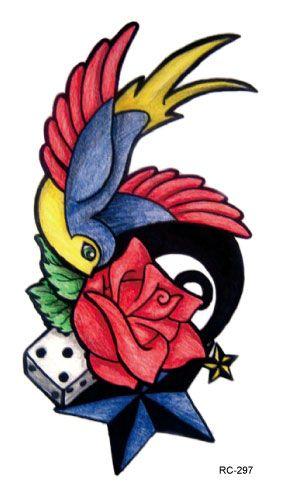Rc2297 сексуальный талии плечо переброска воды татуировки термоаппликации водонепроницаемый временные татуировки наклейки красочные птица цветок поддельные татуировки
