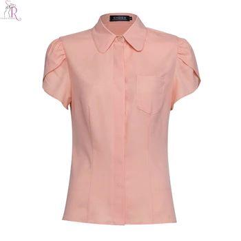ピンクショートフリル袖シフォンブラウスシャツトップスリムカジュアル胸ポケットストリート2017女性夏