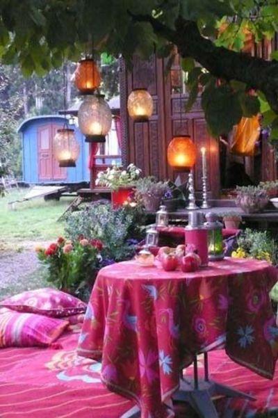 Bohemian Gypsy Style Patio -- I love this idea..