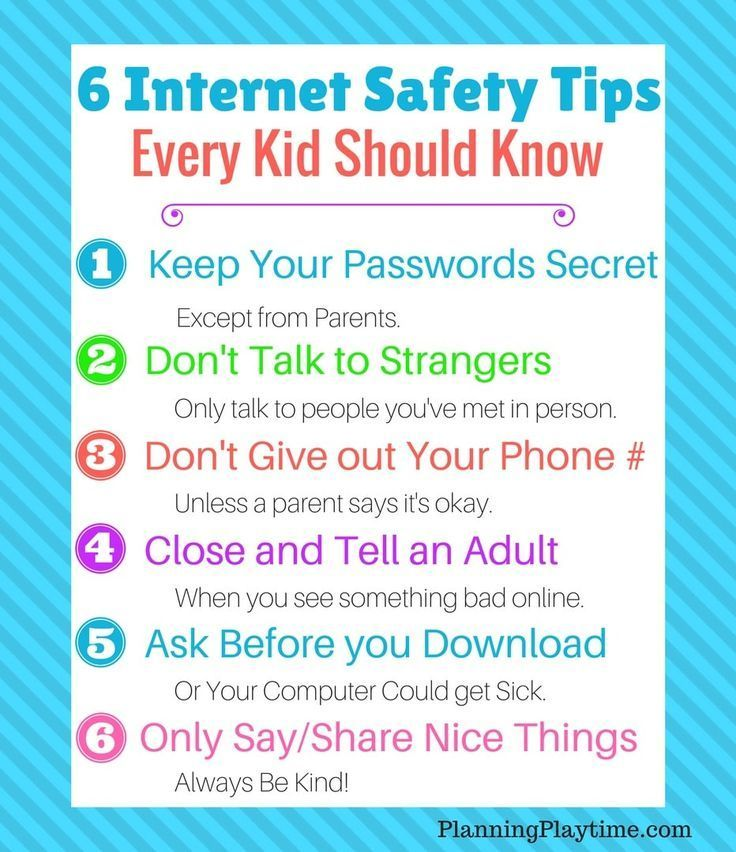 Safety Tips Every Kid Should Know Planning Playtime Internet Safety Tips Internet Safety Kids Safety Online