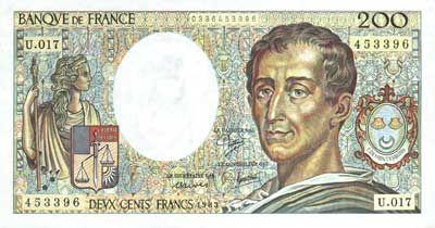 Billet de 200 francs, l'équivalent de 30€... Et quand on sortait avec ce billet en poche, on était les rois du monde!!!