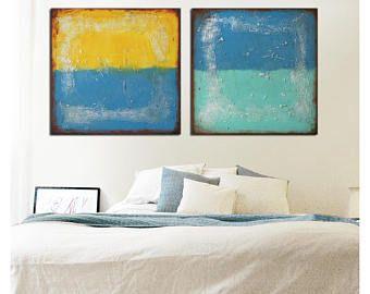 La pintura de acrílico, arte de la pared de la lona, arte abstracto - una vez y dos veces del paisaje - j41, Original, arte moderno, Ronald Hunter, obras de arte originales