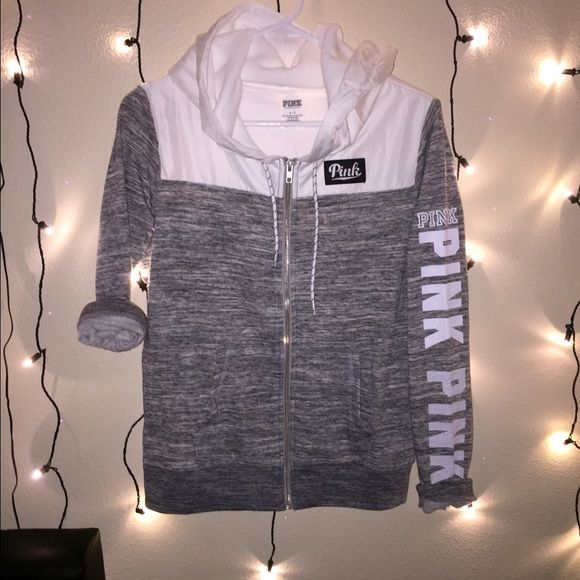 Vs pink zip up hoodie Brand new . Upper white part is kind of like wind breaker like and the grey part is reg sweater material PINK Victoria's Secret Jackets & Coats