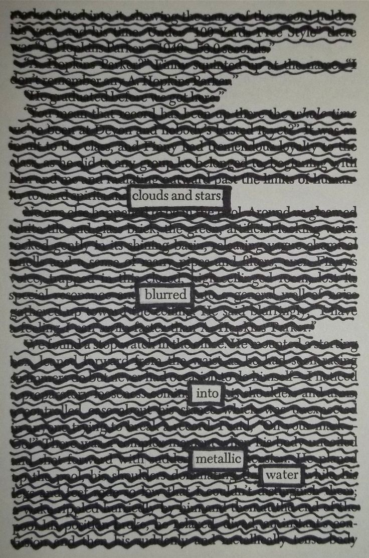 – – – Black Out Poetry: c.b.w. 2015 Source: A Separate Peace by John Knowles Part of Total Black Out Week! More Black Out Poetry