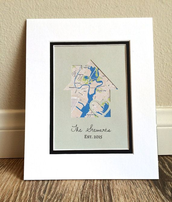 Personalized Home Map Matted Gift First Home Gift New