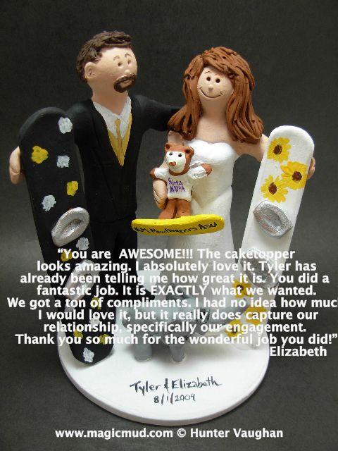 Snowboarders Wedding Cake Topperhttp://www.magicmud.com   1 800 231 9814  magicmud@magicmud.com $235  https://twitter.com/caketoppers         https://www.facebook.com/PersonalizedWeddingCakeToppers   #wedding #cake #toppers #custom #personalized #Groom #bride #anniversary #birthday#weddingcaketoppers#cake-toppers#figurine#gift#wedding-cake-toppers #ski#skiing#snowBoard#snowboarding#downhillSki#skihill