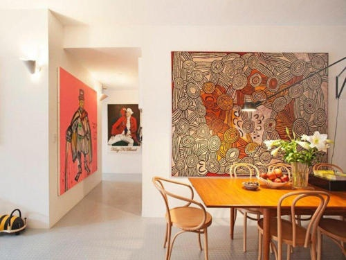 Love the furniture in combination with the art.