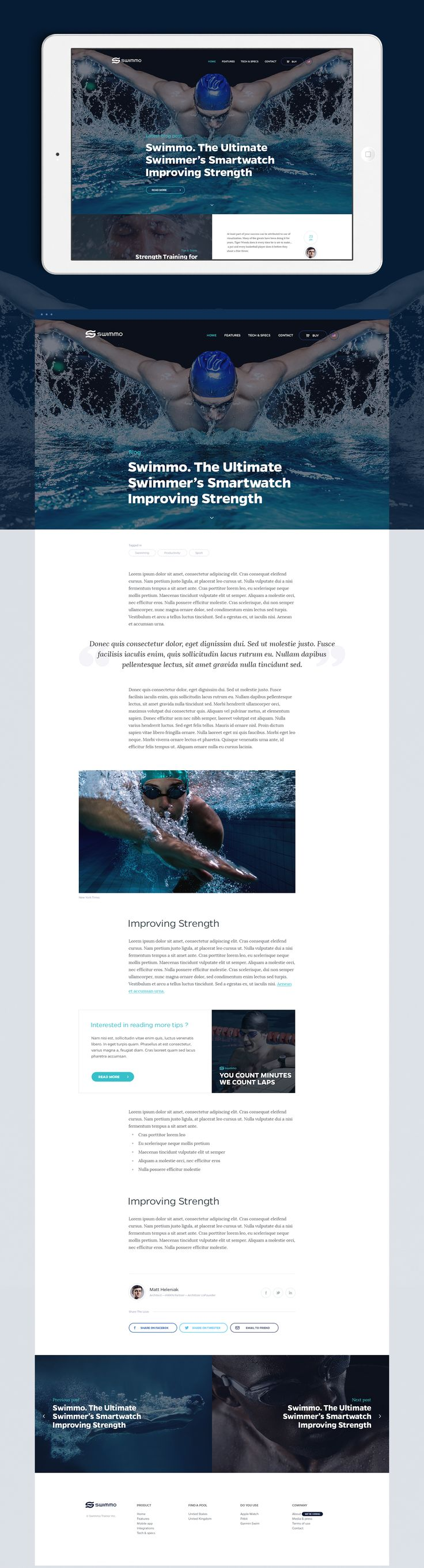 Swimmo Smart Watch - App and Website on Behance