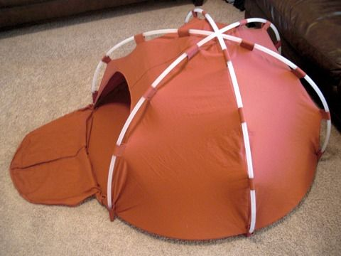 Hula Hoop Dome Tent  This amazing craft tutorial from Obsessively Stitching shows you how to make a child-sized dome tent using a king-sized sheet and five hula hoops. So cool!  Anyone know a cheap source for hula hoops?