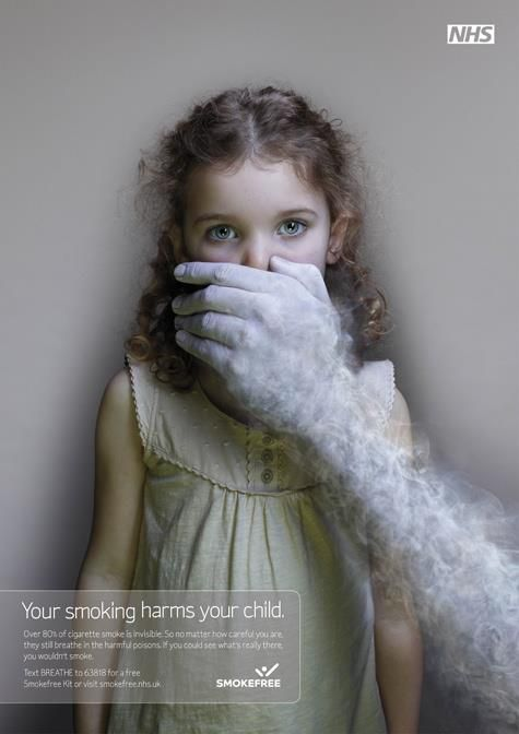 NHS - Smokefree | Would be better if the smoke would be actually hurting her. Something like a rope around her neck. | #ads #marketing #creative #werbung #print #advertising #campaign < repinned by an #advertising #agency from #Hamburg / #Germany - www.BlickeDeeler.de | Follow us on www.facebook.com/BlickeDeeler