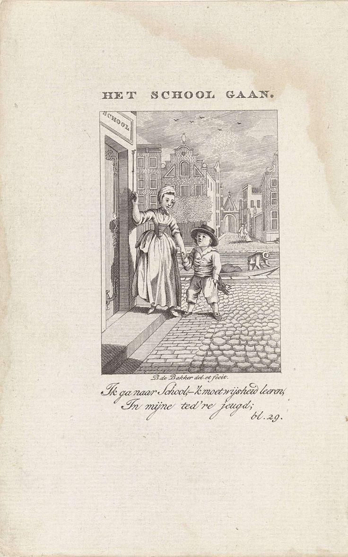 Kind wordt door kindermeisje naar school gebracht, Barent de Bakker, Willem van Vliet, 1789