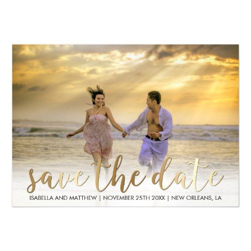 Make It Yourself | Bronze Save The Date Picture Magnetic Card
