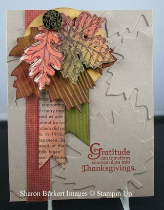 Gratitude Card from Stampin Up! Holiday Catalog...Wonderfall Stamp set and matching Framelits
