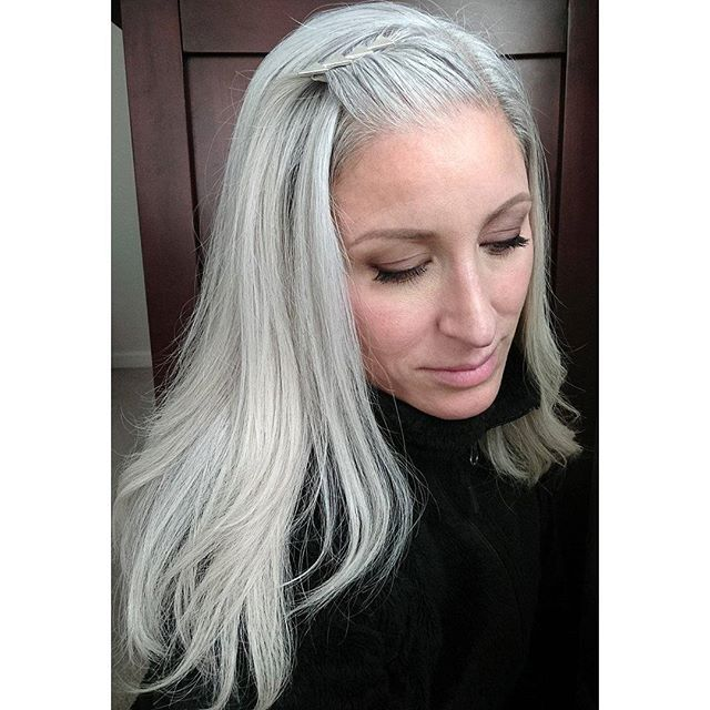 """""""How'd you get your hair that color?"""" """"I grew it out of my head."""" Thanks to Heidi for my new favorite response when people ask about my color. #naturalcolor #greyhair #silverhair #silversister #grannyhair #ditchthedye #rockwhatyougot"""