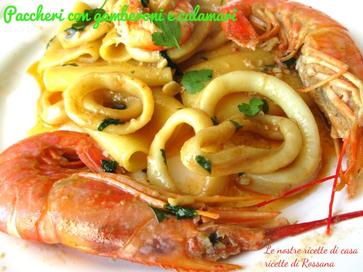 Paccheri con gamberoni e calamari, #ferragosto