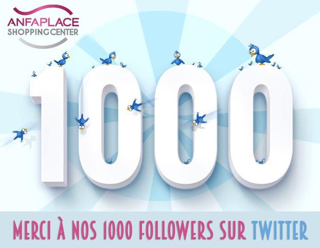 A nos 1000 followers, un grand #MERCI pour votre intérêt et votre fidélité. #AnfaPlace