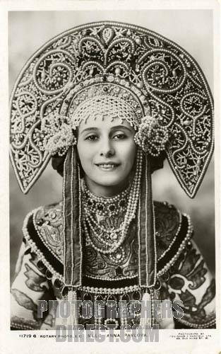 Anna Pavlova wearing ornate Russian headdress.