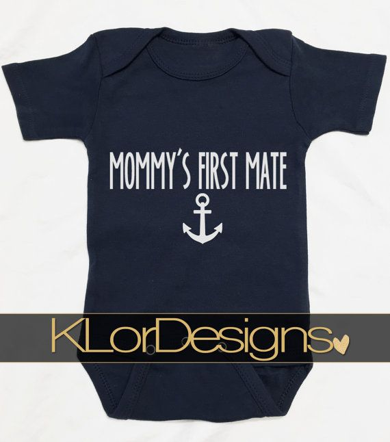 Nautical Baby Boy Outfit Mommy's first mate onesie by KLorDesigns