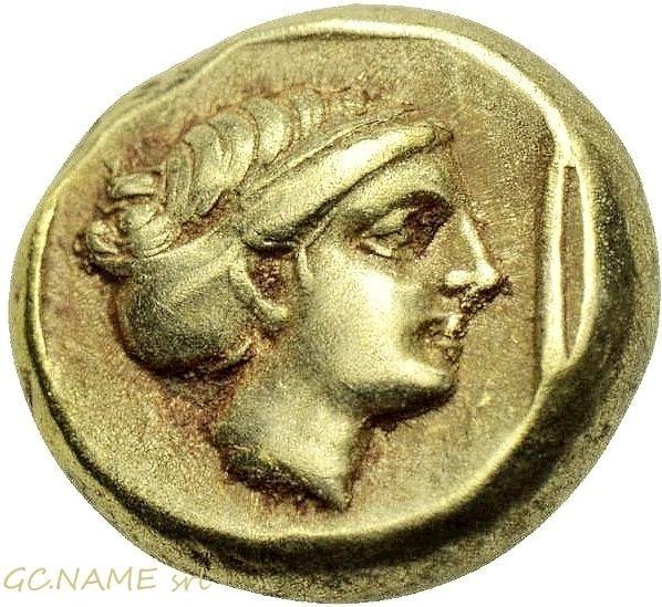Ancient Greek: LESBOS. Mytilene. EL Hekte (Circa 377-326 BC).Gold Oro Or #449