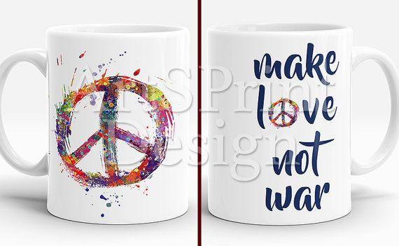 Peace Sign Symbol Mug Colorful Peace Sign Symbol Cup by ArtsPrint