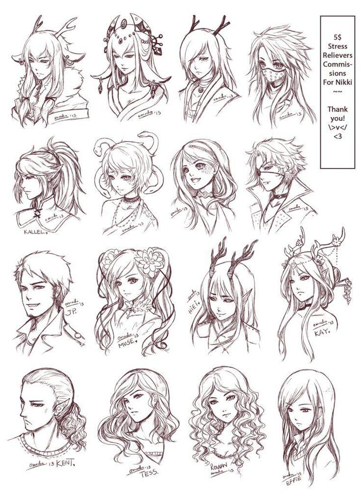 Inspiration: Hair & Expressions ----Manga Art Drawing Sketching Head…