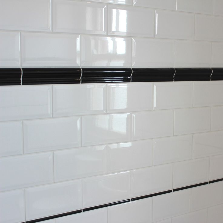 Black Gloss Kitchen Wall Tiles: Bevelled Edge Ceramic Wall Tile, Gloss White Finish In A
