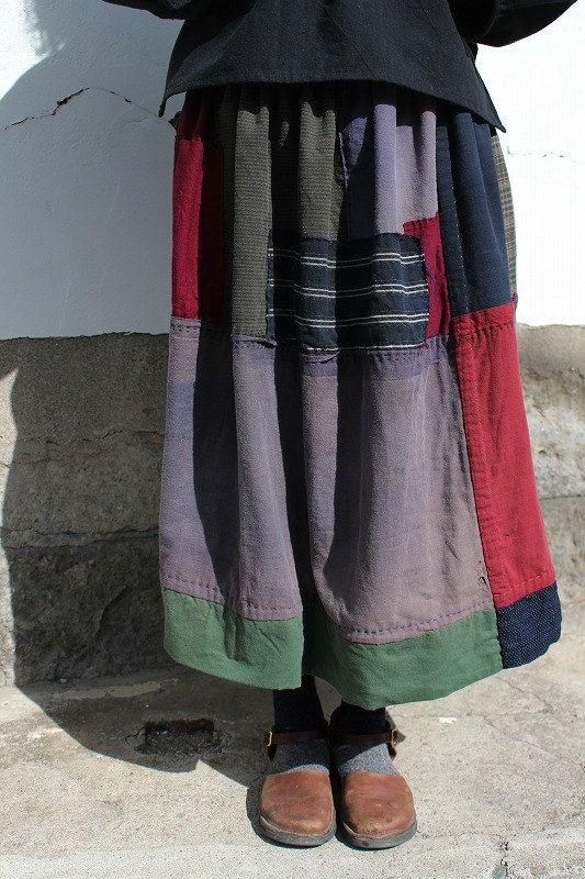Japanese boro mixed color patchwork reversible skirt/kimono noragi/wine red stripe navy/Japan/handmade/antique/337