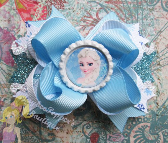 Elsa Hair bow Frozen hair bow disney hair clip girls snowflakes winter bottle cap over the top boutique toddler white baby blue snow queen on Etsy, $7.50