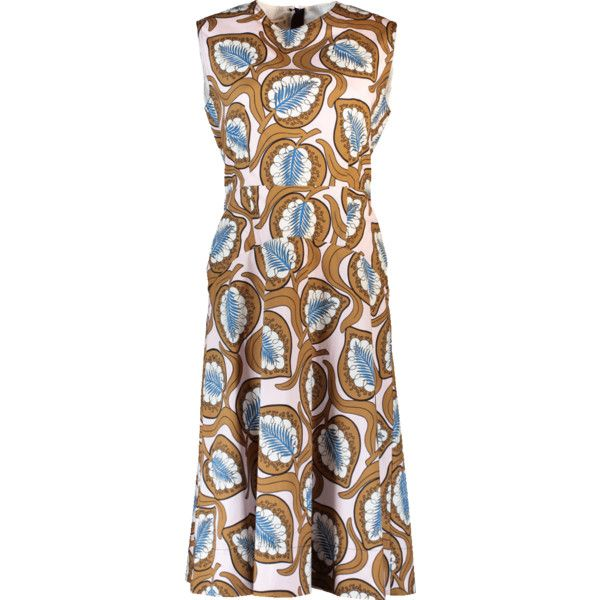 Marni Desert Print Dress (4,655 PEN) ❤ liked on Polyvore featuring dresses, back zipper dress, brown dresses, midi dress, midi day dresses and marni dress
