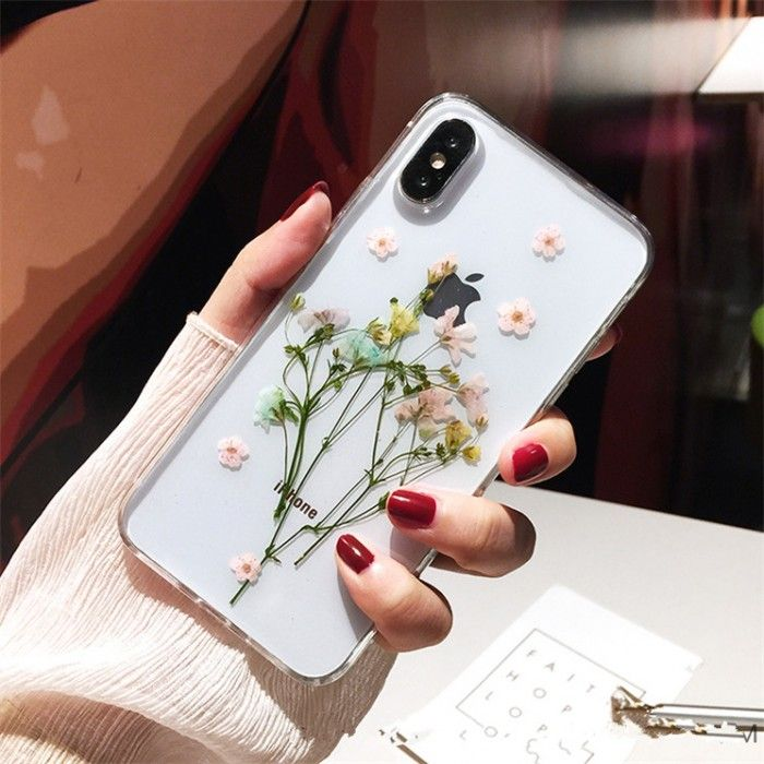 High Quality Cute Real Flowers Phone Case Soft iPhone XR XS 11 Pro