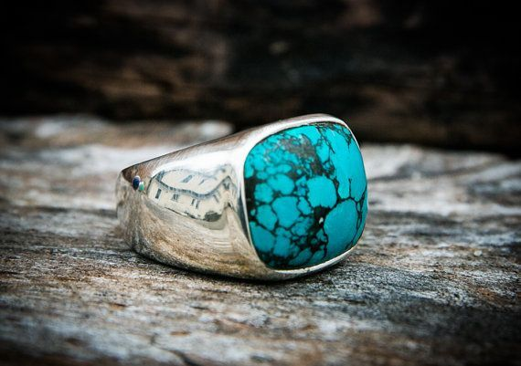 266ecf6fd Turquoise Ring Turquoise Mens Ring size 12 by NaturalRockShop. Find this  Pin and more on Sterling Silver ...