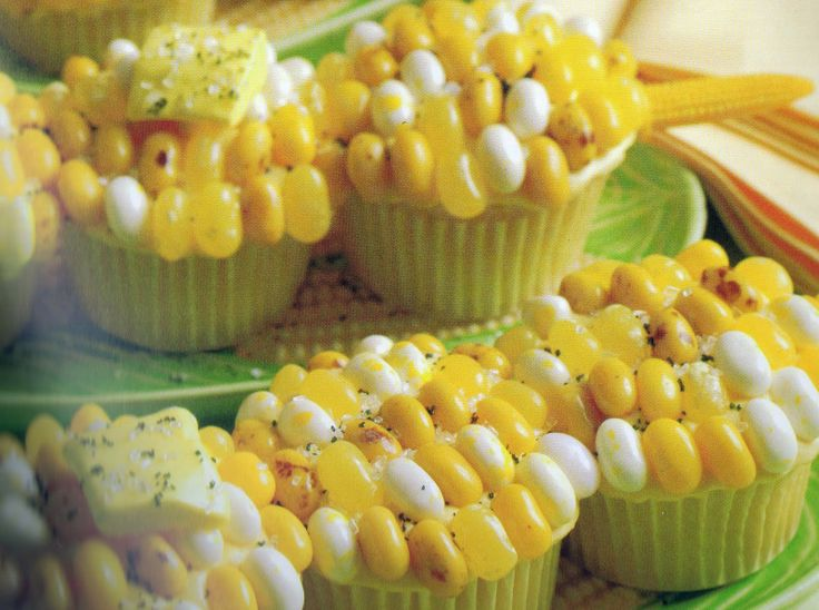 Yes, these are cupcakes!  Decorated with jelly beans to make it look like corn.  Check out this site, it has a ton of info on BBQ parties from invites, to food to decorations, etc.     http://frostmeblog.blogspot.com/search/label/bbq