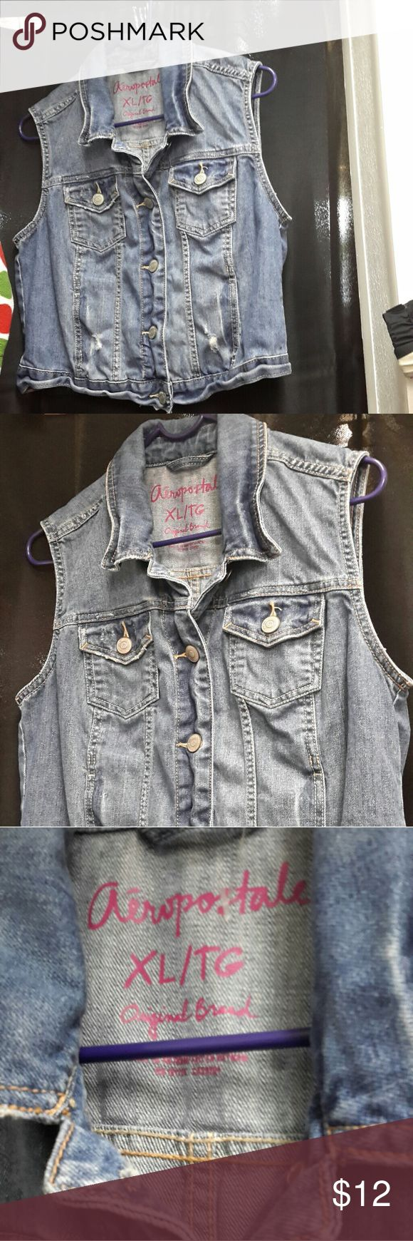 Aeropostale sleeveless Jean jacket Aeropostale light denim sleeveless jacket with two front chest pockets. Cute to wear with shorts, jeans, or a summer dress. Size XL but looks like it may run small as a large if you wore it button up Aeropostale Jackets & Coats Jean Jackets