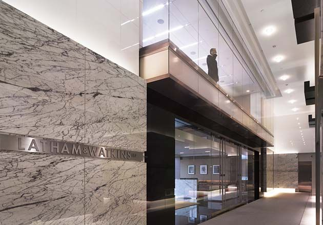 Latham & Watkins LLP signage in lower lobby