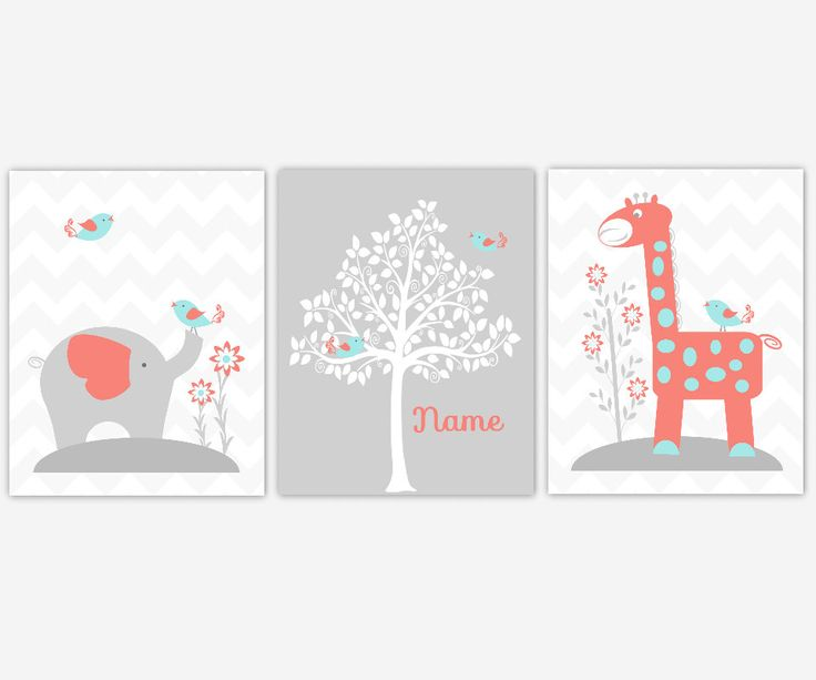 Baby Nursery Decor Coral Aqua Teal Elephant Giraffe Silhouette Tree Personalize Art Baby Girl Nursery Print Baby Nursery Decor Girl Room Art by DezignerheartDesigns on Etsy https://www.etsy.com/listing/242320500/baby-nursery-decor-coral-aqua-teal