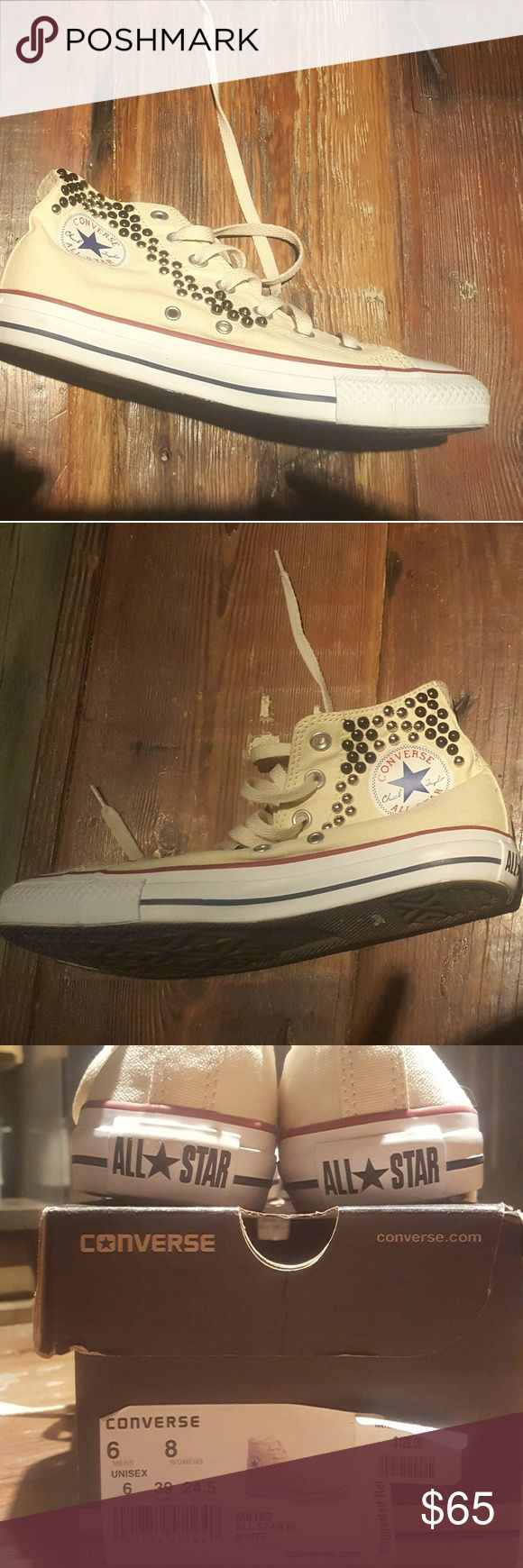 Studded Converse High Tops Unjsex Studded Off White Converse size 8 in women's or 6 in men's purchased from Urban Outfitters. Box included Converse Shoes Sneakers