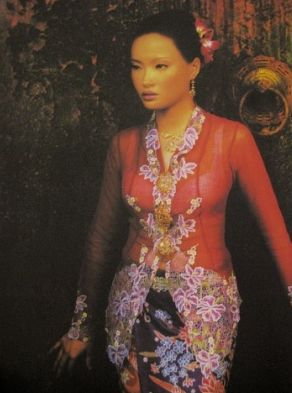 The Nyonya Kebaya - intricately embroidered.