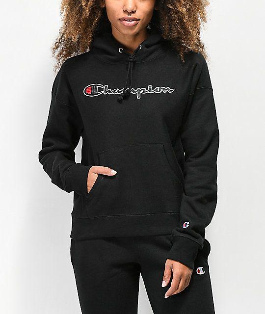 c2d926fcc2807 Champion Reverse Weave Chenille Logo Black Hoodie in 2019