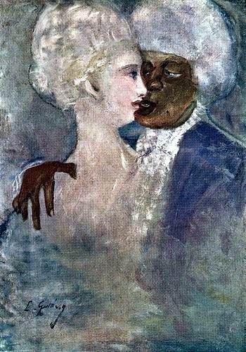 Gulácsy Lajos: A MULATT FÉRFI ÉS A SZOBOR FEHÉR NŐ  1910-1913  olaj, vászon (magántulajdon, Budapest)