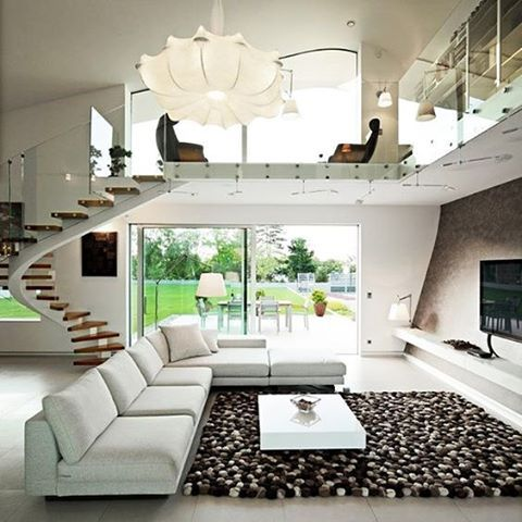 Elegant, sophisticated living room in a breathtaking eco-friendly house :) Designed by Helena Alfirevic Arbutina #white #livingroom #nature #green #relax #staircase #tv #sunshine #happy #cool #breathtaking #musthave #omg #loft #photooftheday #house #loftdesign #industrial #industrialdesign #loftspiration #inspiration #instadaily #design #interior #interiordesign #homedecor #art #style #luxury #awesome