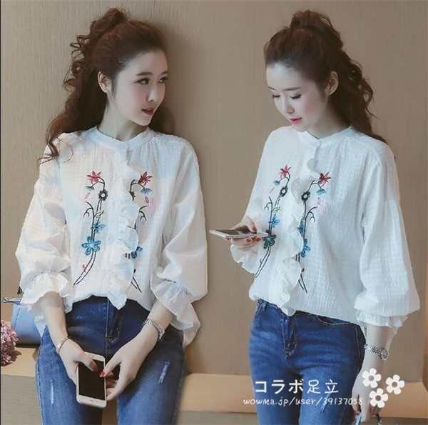「送料無料! レディース 刺繍 シャツ 送料無料!上着 花刺繍 ブラウス 長袖 通勤 韓国ファッション 7分丈」の商品情報やレビューなど。
