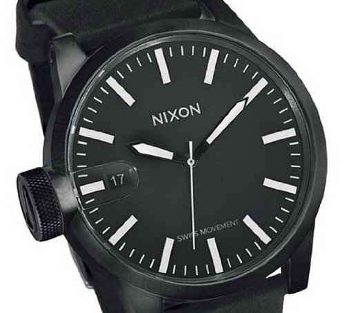 NIXON Men's Black Leather Strap Watch $193.95 http://amzn.com/B002TU96NQ #MenWatch